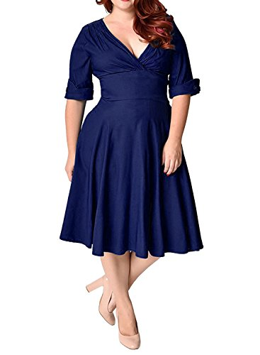 MERRYA Women's Plus Size 1950s V-Neck Sleeved Party Cocktail Swing Dress (22 Plus, Blue) Check Party Dress