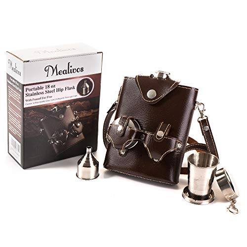 Mealivos 18 oz Stainless Steel Hip Flask Pocket Bottle for Whiskey Liquor Wine Alcohol /Cap,with Case (dark brown) ()
