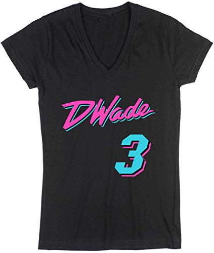 Wade D Jersey (KINGSTON SHIRTS Black Miami Wade Vice City Ladies V-Neck T-Shirt Adult)