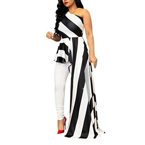 Silver Watch White Leather Belt - Owill Women Sexy Sheath Off Shoulder Party Clubwear Single Shoulder Stripe Dress (White, XL)