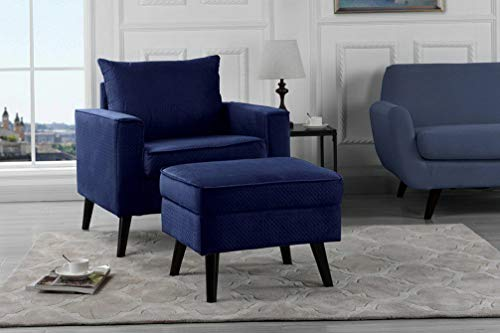 Monowi Brush Microfiber Living Room Accent Chair w/Storage Footrest, Navy | Model CCNTCHR - 83