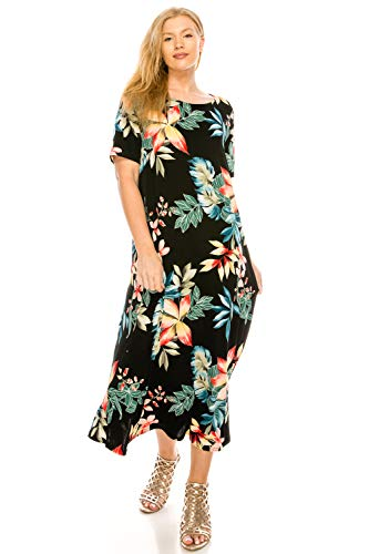 Jostar Women's Stretchy Long Dress Short Sleeve Print Small Multi Abstract ()