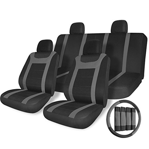 COPAP 17pc Auto SUV Car Seat Covers Black Gray Y Strip Set Airbag Compatible Steering Wheel Cover Full Set Universal Fit Most Car Truck Suv or Van Automart Seat Covers
