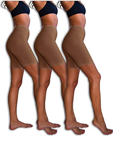 Sexy Basics Womens 3 Pack Sheer & Sexy Cotton Spandex Boyshort Yoga Bike Shorts (2XL-9, 3 Pack- Chocolate Brown) (Cotton Waist Slip)