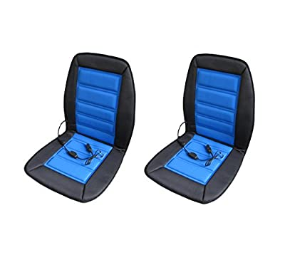 ABN Heated Car Seat Cushion 2-Pack – 12 Volt Adjustable Temperature in Blue/Black – Auto Heating Chair Cover Pad