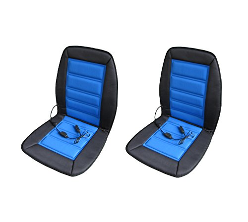 ABN Heated Car Seat Cushion 2-Pack - 12 Volt Adjustable Temperature in Blue/Black - Auto Heating...