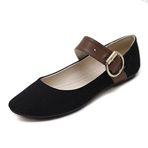 T-july Bailarinas Para Mujer Con Hebilla Cruzada Correas Zapatos Clásicos Marrón