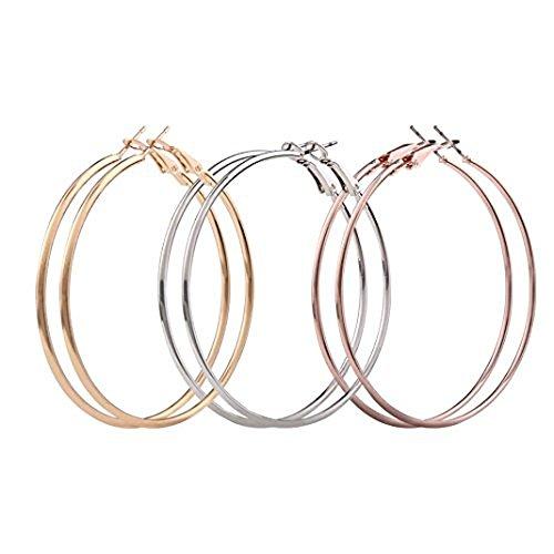 Oksale 3 Pairs Women Fashion Thin Round Big Large Dangle Hoop Loop Earrings Charmer and Elegant Jewelry (Colorful)