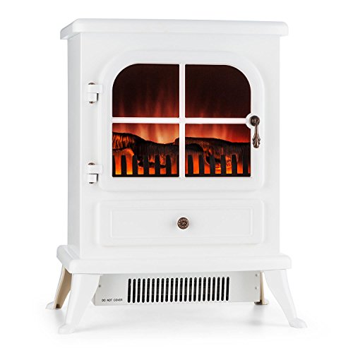 KLARSTEIN St. Moritz Electric Fireplace Heater 1800 W Flame Simulation Built-in Fan Heater Glass Front Panel Nostalgic Design Adjustable Flame Brightness White