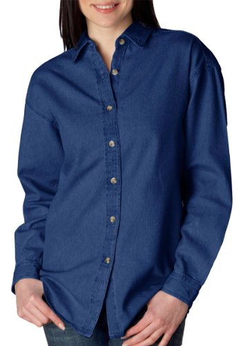 (UltraClub Women's Soft Cypress Denim Double-Needle Woven Shirt, indigo, X-Large)