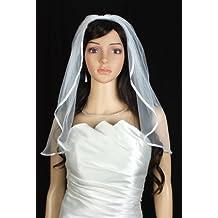 Bridal Wedding Veil White 1 Tier Shoulder Length 1/4in (6mm) Satin Ribbon Edge