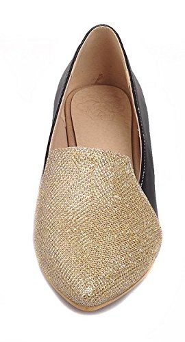 Gold Women's On Pointed Heels Pull Pumps Blend Shoes Low Materials WeenFashion Toe fCqwPawn