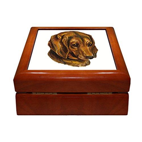 German Shorthaired Pointer Pets Animlas Vintage Look Jewelry Box Tile Lid Insert Golden Oak