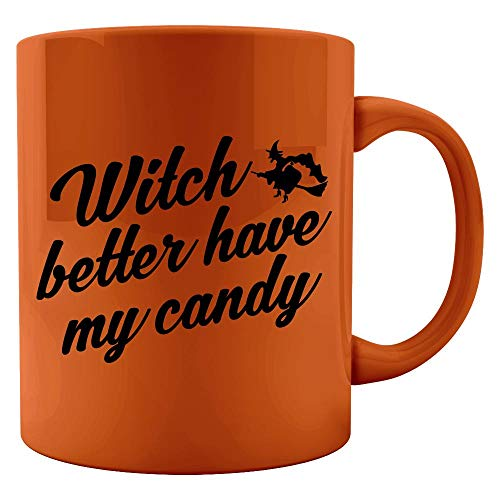Witch Better Have My Candy Cute Funny Halloween Flying Broom Stick Art - Colored Mug]()