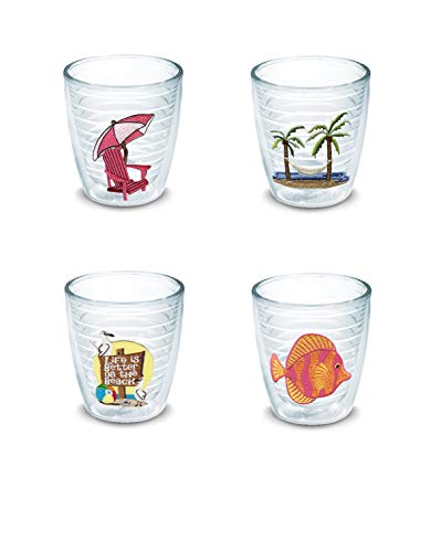 Tervis 12 oz Tumbler 4 Pack Insulated Clear, One Each with Emblem: Life is Better On The Beach, Adirondack Chair - Pink, Palm Tree & Hammock Scene and Tropical Fish, ()