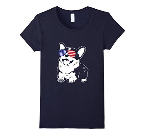 Womens Corgi America Flag Sunglasses T-Shirt Medium - Americas Best Glasses Womens