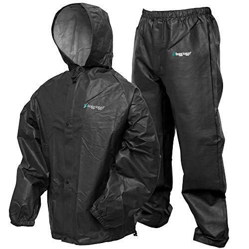 Frogg Toggs Pro Lite Waterproof Rain Suit, Carbon Black, Size Medium/Large