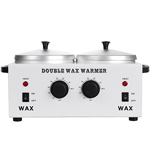 DOUBLE Wax Warmer Professional Electric Heater Dual Parrafin Hot Facial Skin Equipment SPA Adjustable Temperature Set (Best Double Wax Warmer)