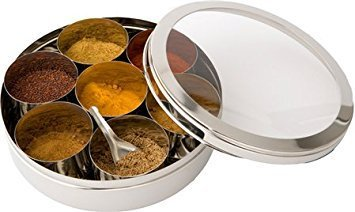 (King International Stainless Steel Spice Box Set (with See Thru Lid) - (Set of 9 pc) Spice Box Indian Masala Dabba with 7 Spice Containers, Spoon and Double Lid Keeps Spices Fresh)