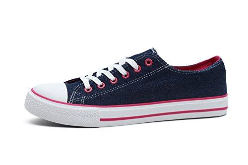 FBetter Women Sneakers Low-Top Canvas Sports Shoes (Denim EU40) (Canvas Check Shoes)