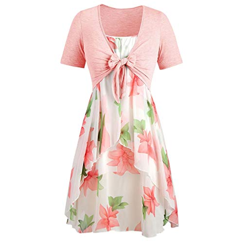 Dresses for Women Casual Summer Short Sleeve Bow Knot Cover Up Tops Sunflower Print Strap Midi Dress Pleated Sun Dresses (Large, Z-6 Pink)