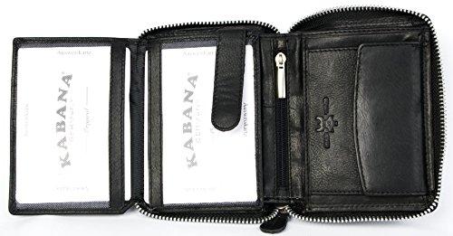 Homme Véritable En Zip Pour Autour De Noir Qualité Cuir Avec Kabana Portefeuille FSfAntx