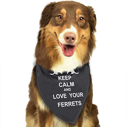 WUWENGGWJ Keep Calm and Love Your Ferrets Dog Bandana Scarf,Dogs Bandanas for