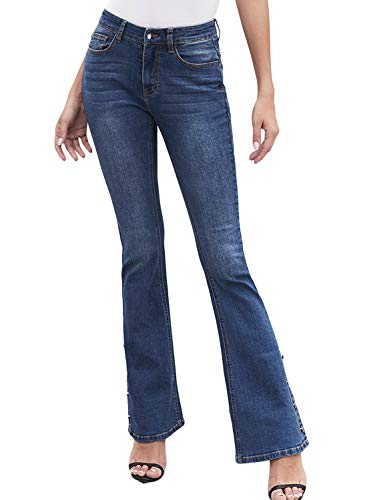 Aleumdr Women Juniors Stretchy Flare Fitted Denim Jean Ankle Length Pants Anchor Point Bell Bottom Jeans Plus Size 2XL Blue