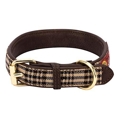 Halo Leather Dog Collar with Baker Plaid Medium