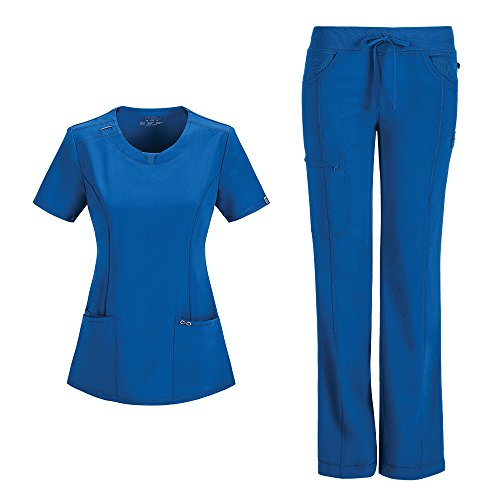 Cherokee Infinity Women's Scrub Set - 2624A Round Neck Top & 1123A Low Rise Straight Leg Drawstring Pant, Royal, Small