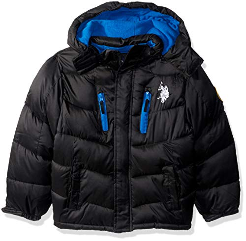 Signature Quilt Zip Apparel - US Polo Association Boys' Little Puffer Outerwear Jacket, Black, 5/6