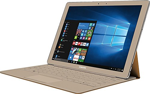 Samsung Galaxy TabPro S Convertible 2-in-1 Laptop / Tablet, 12' FHD+ Touchscreen - Intel Core m3-6Y30 - 8GB DDR3 Memory - 256GB SSD - Windows 10 - Bluetooth – Webcam - Gold (Keyboard Included)