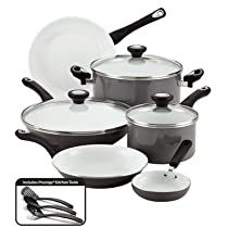 Ultimate PURECOOK Ceramic Nonstick Cookware 12-Piece Cookware Set (Grey)