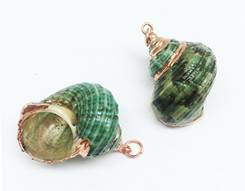- PEPPERLONELY 2 PC Electroplated Rose Gold Trimmed Green Turban Shell Pendants, 1 Inch ~ 1-1/4 Inch