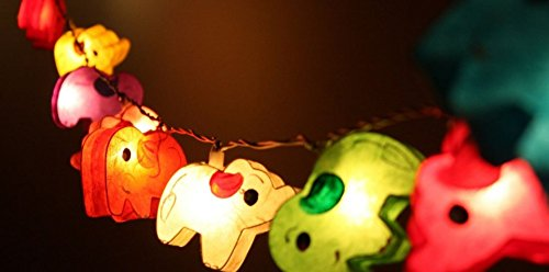 1 Set Handmade Lighting String 20 Elephants Lights Hanging Lamp Mixed Colors Home Decoration, Patio, Living Room, Kid Toys, Yard  Garden Indoor Outdo…