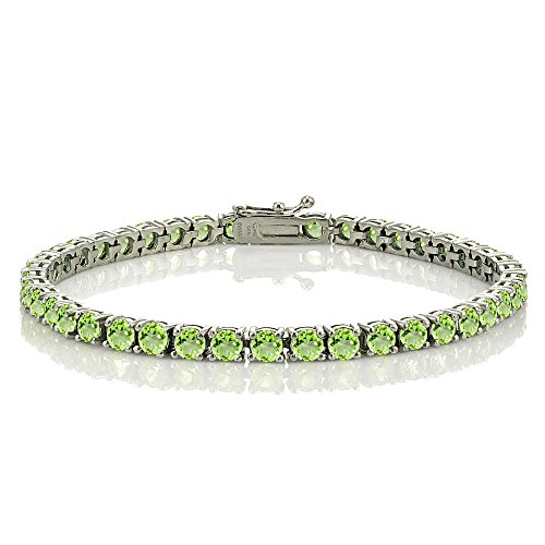 (Ice Gems Sterling Silver Peridot 4mm Round Tennis Bracelet)