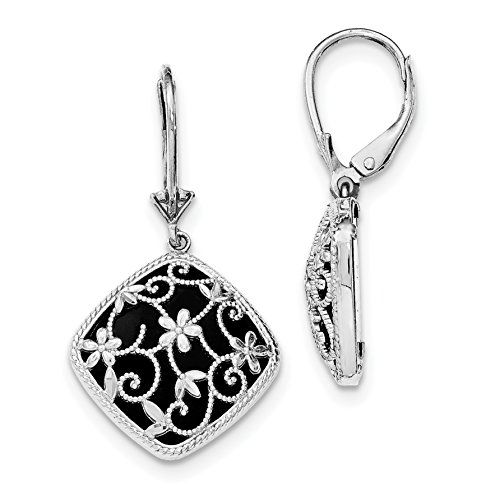 ICE CARATS 925 Sterling Silver Textured Black Onyx Leverback Earrings Lever Back Drop Dangle Fine Jewelry Gift Set For Women Heart Onyx Loop