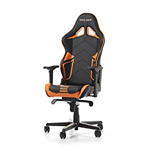 DXRacer Racing Series PU Leather OH/RV131/NO Racing Seat Office Chair Gaming Ergonomic Adjustable Computer Chair with - Includes Head and Lumbar Support Pillows (Black/Orange)