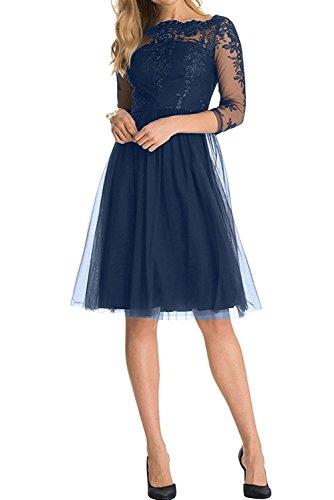 Suessig La Knielang Royal Braut Kleider mia Blau Blau Linie Cocktailkleider Promkleider A Navy Jugendweihe Spitze Abendkleider 1FEFqS