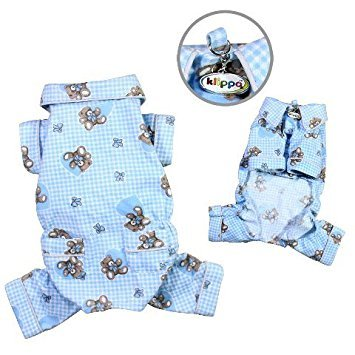Teddy Bear Flannel Pamajas/Bodysuit/Overall - Light Blue - MEDIUM