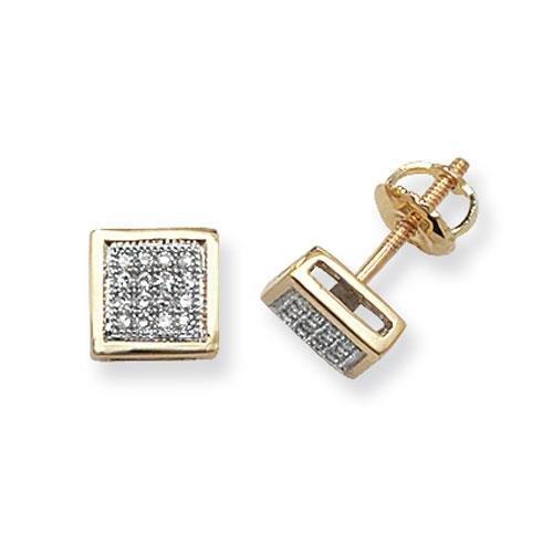 Boucles d'oreilles clous carré diamant 9ct SI2-I10,13ct