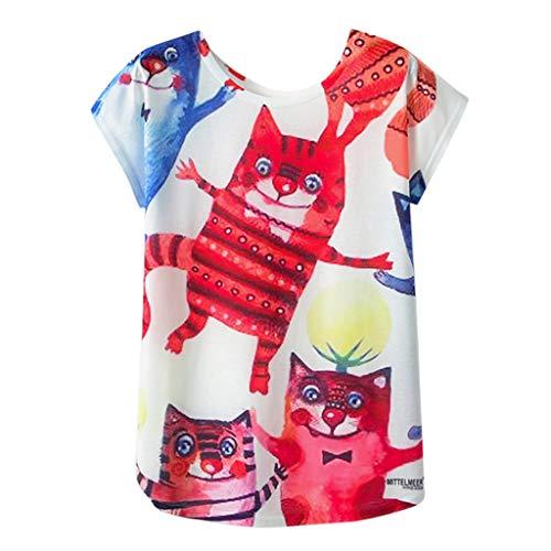 Harajuku L Xl Kawaii Cat Nuovo Girocollo Nizza Manica T Style Camicetta shirt 36 Corta Stampa Donna Estate Nuova M Multicolore Maglietta Taglia Ujunaor Tops Carino xX5Bq10B