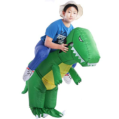 starcourtyard Halloween Green Inflatable Dinosaur Costumes Adult Kids Carry Me Costumes (lskl-s) -