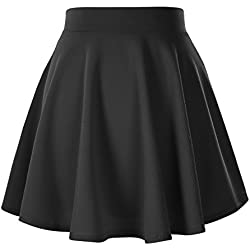 Women's Basic Solid Versatile Stretchy Flared Casual Mini Skater Skirt (XS, Black)