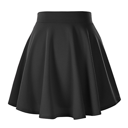 Women's Basic Solid Versatile Stretchy Flared Casual Mini Skater Skirt (Medium, Black)