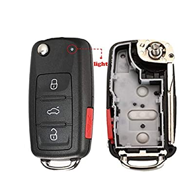 3+1 4 Buttons Flip Key Fob Cover Case Shell Keyless Jacket Wallet Holder for VW Polo Jetta Golf MK6 Tiguan Touareg 202AD 202H 202Q KeyCase: Car Electronics