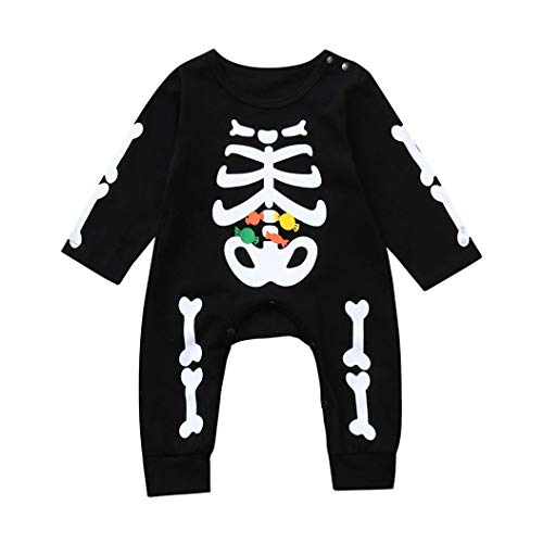 Memela Baby Clothes, Toddler Baby Halloween Bone Candy Print Trick Treat Romper Jumpsuit Casual Clothes (Black, 24M(18-24mos))