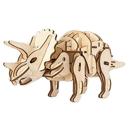 (OnlyBest Triceratops, Wooden DIY Dinosaur, 3D Puzzle, Creative Gifts, Hand Assembled Toys, Laser-Cut Craft Kits, 3 Control Approaches)