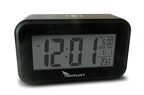 Travelwey Stylish Digital Bedside Alarm Clock, Visible At Night, Snooze, Temperature, Date, Two USB Charging Ports, Black