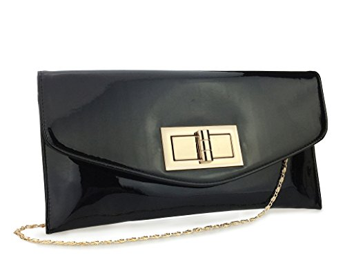 - Hoxis Charms Envelope Patent Faux Leather Turn Lock Clutch Womens Evening Handbag With Chain Strap (Black)